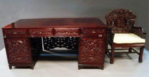 hardwood pedestal desk