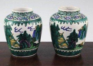 Japanese green Kutani ovoid jars