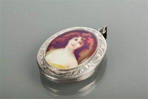 enamel portrait locket