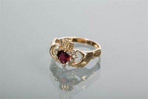 heart motif ruby ring