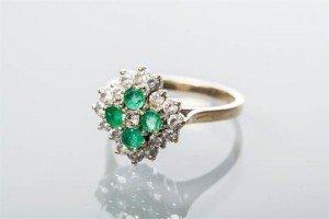 white gem cluster ring