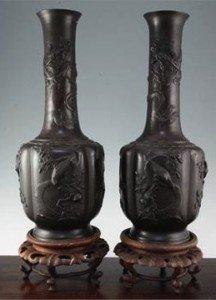 Japanese bronze bottle vases