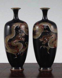 cloisonne enamel 'dragon' vases