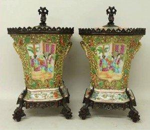 Canton porcelain pot pourri vases
