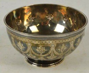 silver circular footed bowl