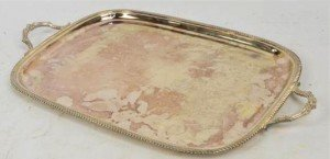 silver twin handled tray
