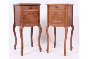 French marble top bedside chests