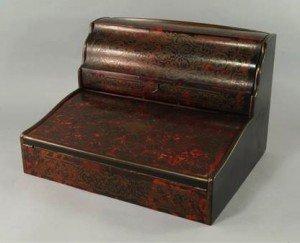 ebonized wood desk cabinet