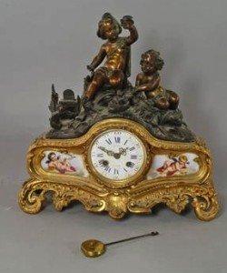 porcelain mounted mantel clock