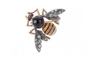 multi-gem bee brooch