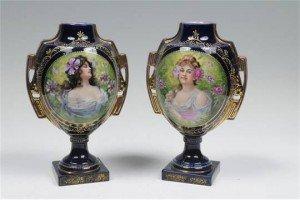 cobalt blue and gilt portrait vases