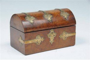 brass banded tea box