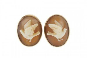 gold shell cameo earrings