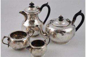 polished pewter teapot