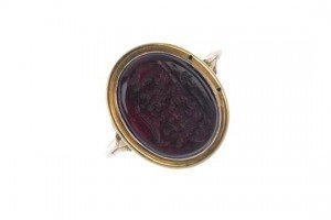 glass intaglio ring