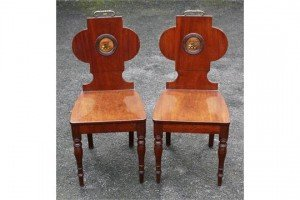 armorial crested hall chairs