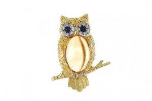 diamond owl brooch