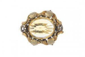 gold citrine brooch