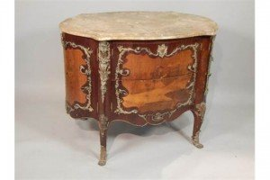 marquetry double sided commode
