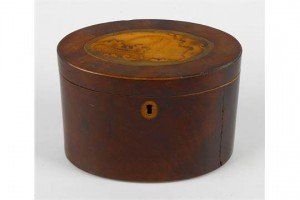 mahogany oval tea caddy