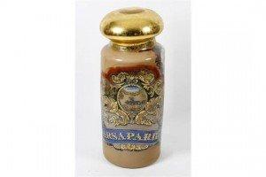 decorated glass Sarsaparilla jar
