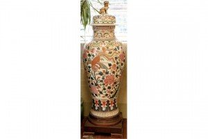 decorated vase and cover