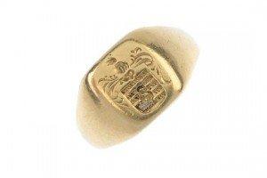 century gold intaglio signet ring.