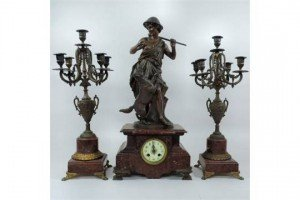 figural clock garniture