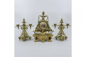 three piece clock garniture