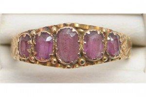 almadine garnet five stone ring
