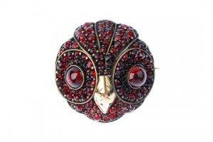 garnet owl brooch