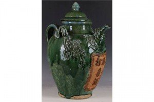 glazed wine jug