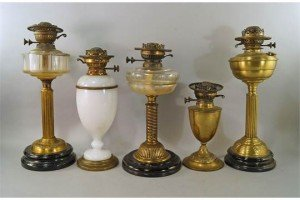 five oil lamp bases