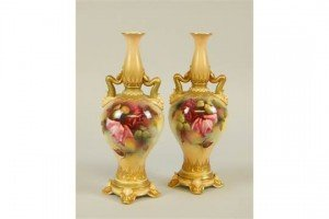 porcelain two handled vases