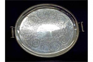 silver twin-handled gallery tray