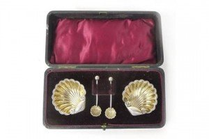 cased silver salt set