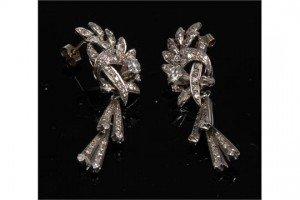 encrusted floral cluster droplet earrings