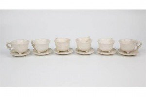 Chinese carved white stone cups and saucers