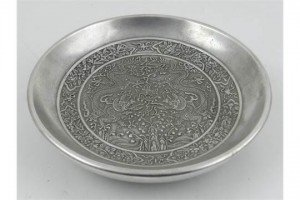 white metal dish