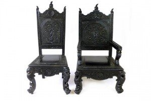 ebonized teak chairs