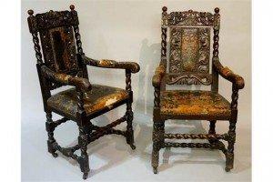 Victorian oak armchairs