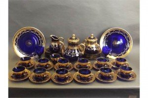 blue glass tea set