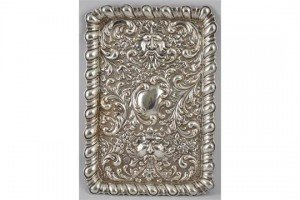 embossed silver dressing table tray