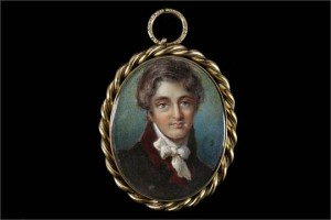 portrait miniature gilt metal pendant