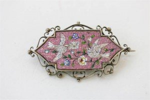 mounted micro-mosaic brooch
