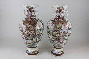 Japanese Satsuma baluster vases