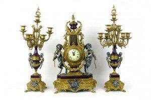 enamelled clock garniture