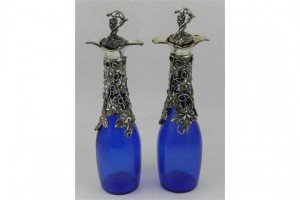 blue glass decanters