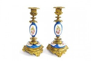 porcelain and ormolu candlesticks