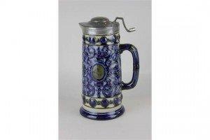 stoneware pewter lidded jug